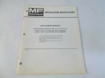 Massey Ferguson Air Conditioning For Mf 550 540 Combine Installation Instruction