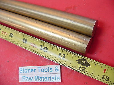 2 Pieces 34 C360 Brass Solid Round Rod 12 Long Lathe Bar Stock .750 Od H02