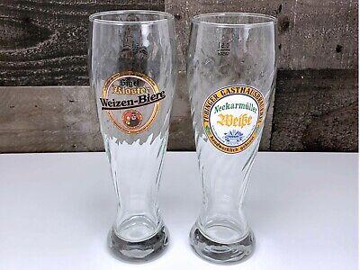 2 German Weizen Beer Glasses ~ Gasthausbrauerei Neckarmüller & Sigel Kloster .5L