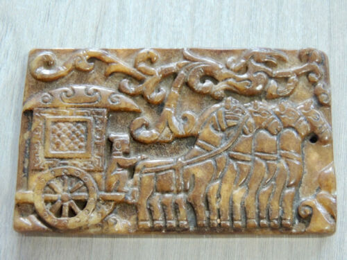 Antique Mongolian Stone Tablet with engraved drawings in relief