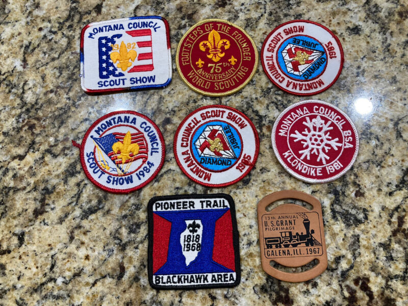Lot Of 7 Vintage Boy Scouts Patches Council Scout Show Footsteps Of The Founder