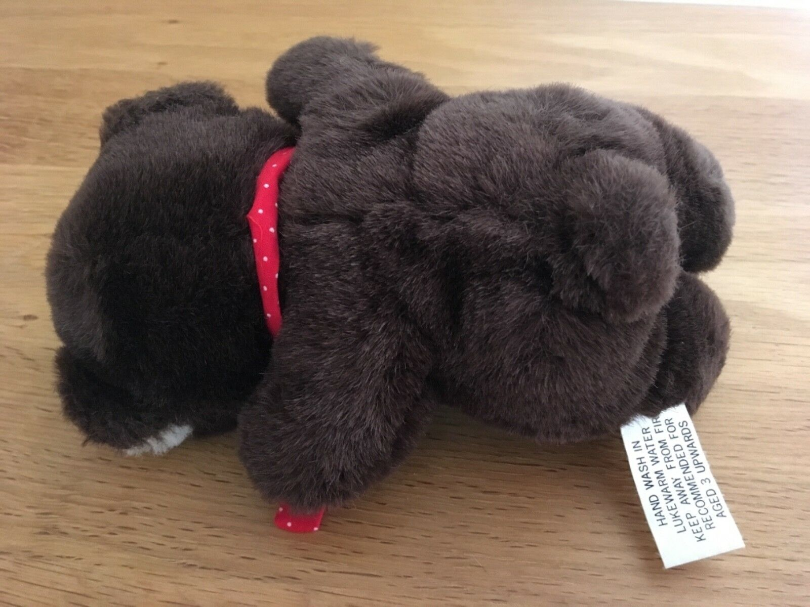 Softies Small Brown Bear Soft Toy With Red Spot Tie - £1.20