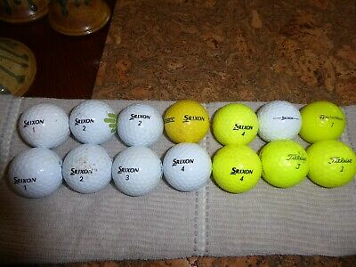 Golf Balls (used) - 14 starting at only 99 cents!  DEAL! Srixon x10 Misc x4 10 Cent Golf Balls