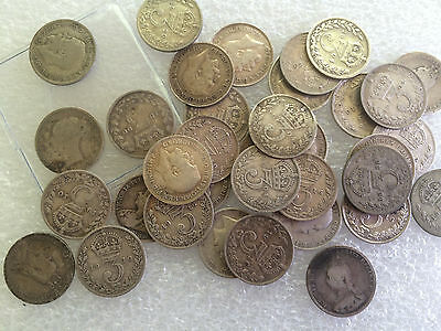 2 oz  silver threepence 3d mixed   maundy  pence coins pre 1920