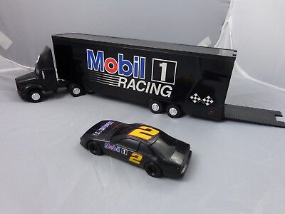 1994 Mobil Toy Race Car Carrier Tractor Trailer Limited Edition 2nd in Series
