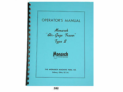Monarch Lathe Air Gage Tracer Type B Operators Manual 582