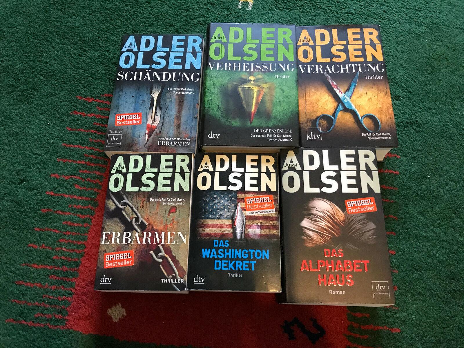 6 Bestseller-Romane (Buchbände) des bekannten Autors Jussi Adler Olsen