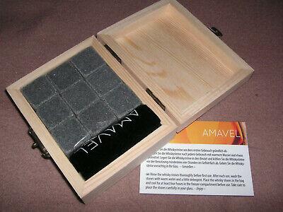 Geschenkset Whiskysteine Whisky Steine Eiswürfel-Ersatz in Holzbox +