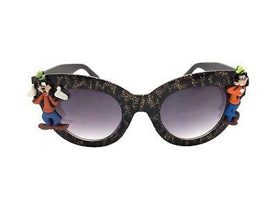Women's Brown and Black Animal Print Embellished Disney Goofy Sunglasses UV 400 - Goofy Sunglasses