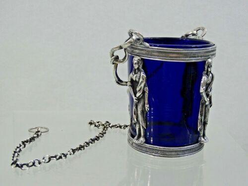 RARE 18 century SILVER ICON VIGIL LAMP LAMPADA BLUE GLASS LINER sterling