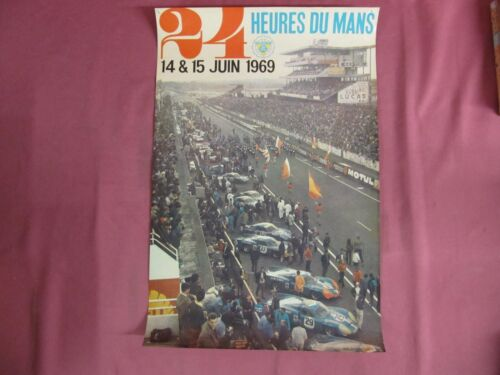 Original Vintage 24 Heures Du Mans 1969 Racing Poster