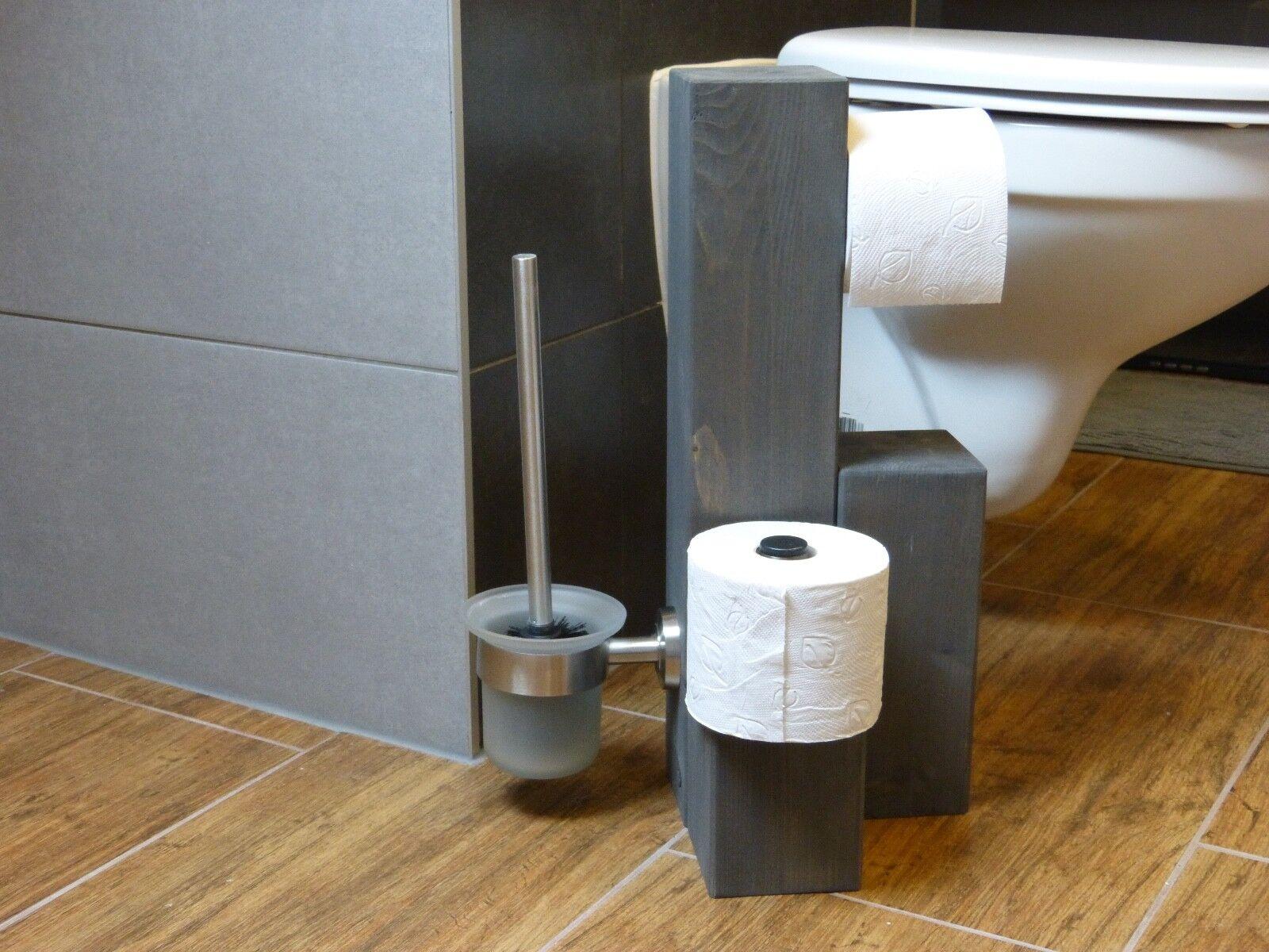 Toiletten-Papier-Halter Massivholz / Edelstahl Badezimmer WC Garnitur Design WC