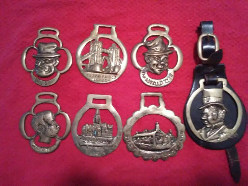 Collection of Vintage Brass Horse Tack Madallions