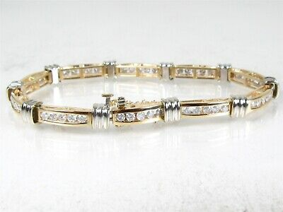 Estate 14k Two Tone Gold Natural 2.5ctw Diamond Tennis Bracelet 15.3g 7
