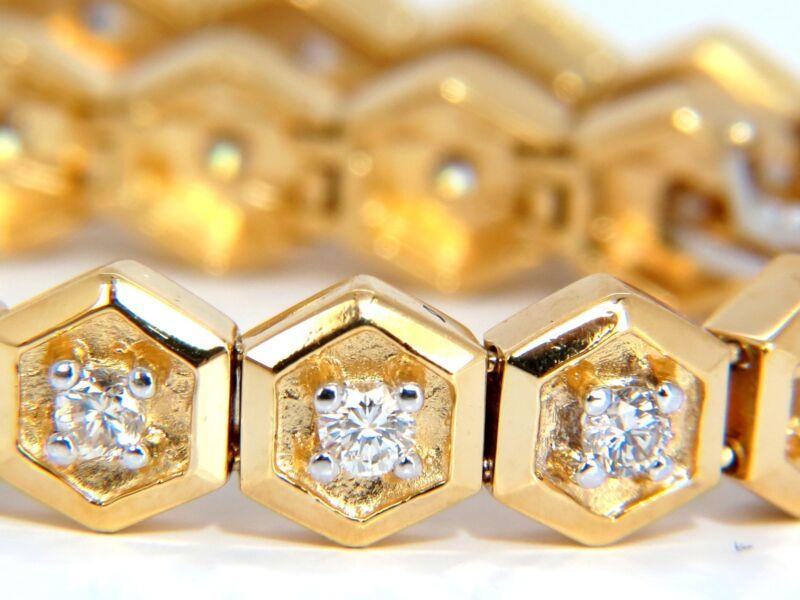 2.50ct Natural Round Diamonds Octagonal Link Tennis Bracelet 14kt +