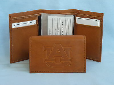 AUBURN TIGERS   Leather TriFold Wallet    NEW    brown 2