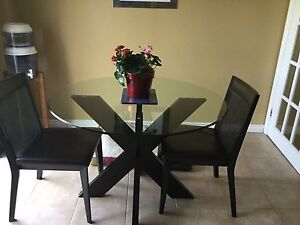 Glass Dining Table and 2Chairs