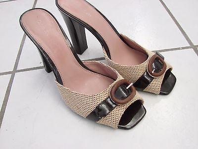 Calvin Klein Shoes size 8.5M Strapless open toe pumps beige weave & black buckle