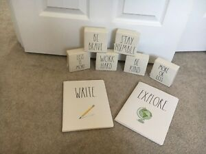 Rae Dunn (blocks and notebooks)