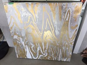Silver gold white canvas painting