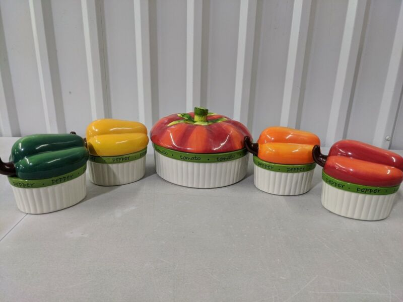 Preowned Certified International Judy Phipps Ceramic Dish Set 4 Peppers & Tomato
