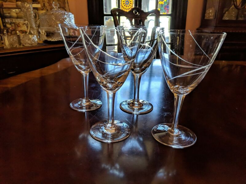 4 Water Goblets Tranquility Fine Arts Cut swirl/spiral multisided stem