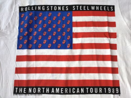 The Rolling Stones 1989 Vintage Steel Wheels White T-Shirt SIZE FEELS LIKE LARGE