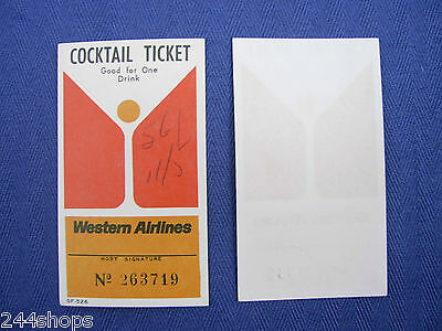 Western Airlines Vintage Cocktail Ticket   Good For One Drink   Used