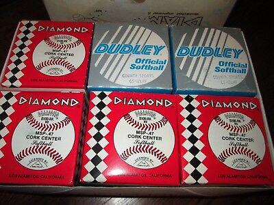 4 New DIAMOND RED stitch Softballs 12