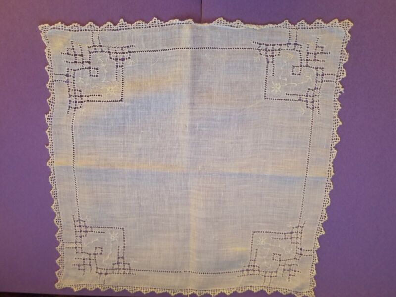 ANTIQUE DRAWN WORK LINEN HAND EMBROIDERED FLORAL BRIDAL HANDKERCHIEF HANKY