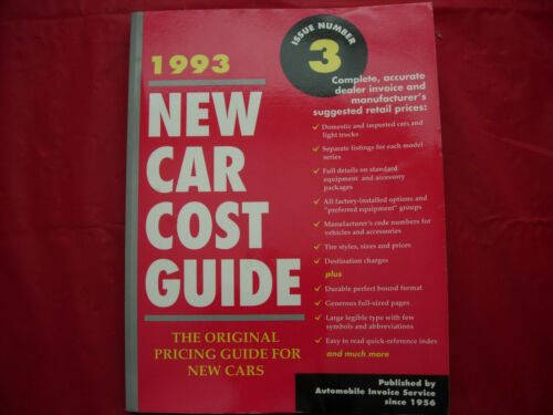 RARE 1993 DEALER NEW CAR COST GUIDE 474 PAGES!!
