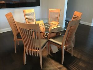 Round Glass & Stainless Steel Dining Table & 6 Wood Chairs