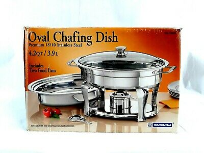 Tramontina Chafing Dish Oval 680302 Premium Stainless Steel 4.2 Qt 3.9l