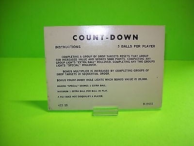 Gottlieb COUNT-DOWN Orig Pinball Machine Instructions Card 2-Sided 3/5 Balls #1