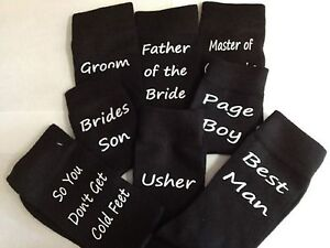 Black-Mens-Script-Wedding-SOCKS-26-Bridal-Titles-FREE-UK-P-P-Ref-SP