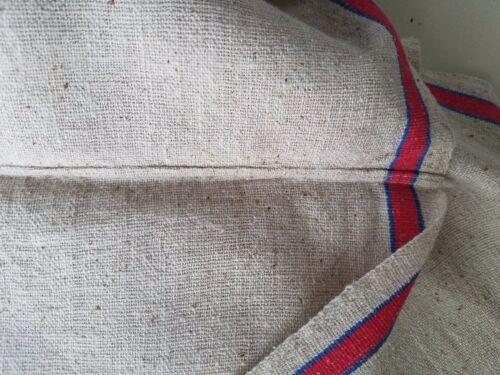 Vintage Antique French LINEN Red Blue Stripe Roller Kitchen Towels ~14 x 30