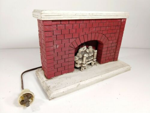 "Vtg Handmade Folk Art Fireplace 12"" x 7"" x 4"" Electric"