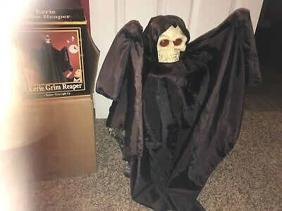 Vintage Lighted Gemmy Grim Reaper Hanging Halloween Decorations Moans Shakes