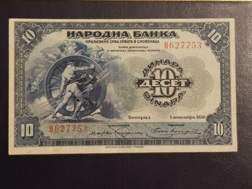 SCARCE 10 din. 1920. kingdom of Yugoslavia