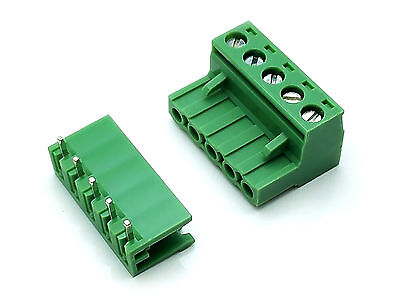 Us Stock 10set 2edg 5p Plug-in Screw Terminal Block Connector 5.08mm Right Angle