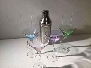 Cocktail glasses and oversize shaker