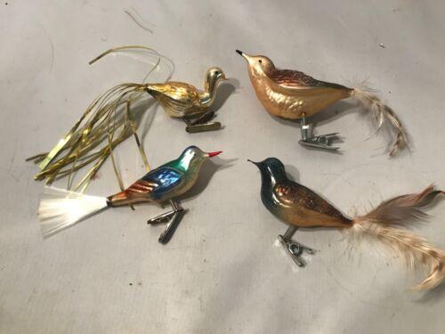"SET 4 CHRISTMAS GLASS CLIP ON BIRD ORNAMENT FEATHERS TINSEL SPUN GLASS 6"" LQQK"