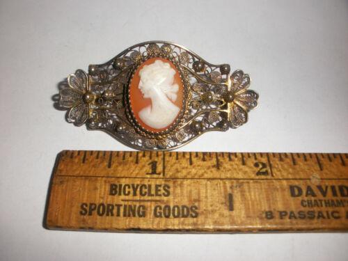 """Rare 2"""" antique Victorian  900 silver gold wash filigree cameo brooch"""