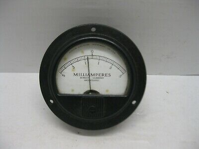 Vintage Marion Electrical Gauge Mr35w104 Spec Milliamperes Direct Current Meter