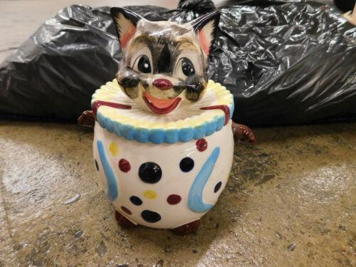 Vtg Happy Kitten CAT Circus CLOWN COOKIE JAR Cracker Bowl UCAGCO JAPAN Labeled
