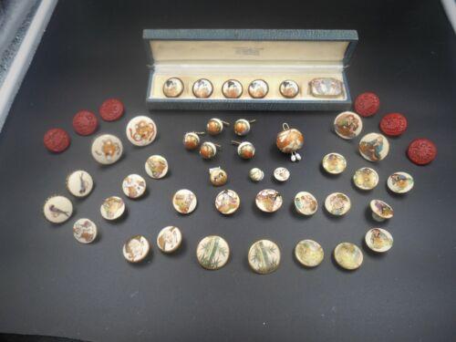Wonderful antique LOT estate collection Satsuma buttons