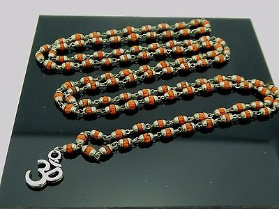 Buddhist & Hindu 3mm Natural Brown Rudraksha w/ Caps 108 Bead Linked Om Mala