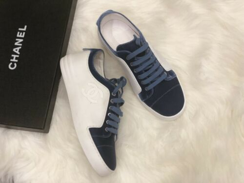 NIB 825 Chanel White Leather with Blue Velvet Sneakers size 365