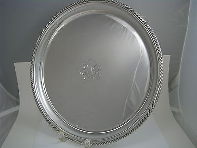 "GORHAM STERLING SILVER TRAY PLATTER PLATE DISH by Gorham Mfg. ca1950s Mono ""ESB"""