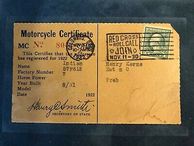 Vintage Indian Motorcycle 1922 Certificate of Ownership